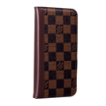 LV Lattice Simplicity Flip Leather Cases Cover Book Genuine Holster Shell For iPhone 11 Pro Max - Brown