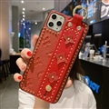 LV Monogram Non-slip Support Leather Cases Cover Back Genuine Holster Shell For iPhone 11 Pro Max - Red