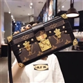 Long Chain LV Monogram Crossbody Genuine Leather Case Book Flip Holster Cover For iPhone 11 Pro Max - Brown