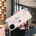 Long Strap Dior Envelope Crossbody Genuine Leather Case Book Back Holster Cover For iPhone 11 Pro Max - White