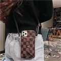 Long Strap LV Lattice Crossbody Genuine Leather Case Book Back Holster Cover For iPhone 11 Pro Max - Brown
