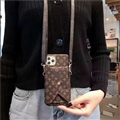 Long Strap LV Monogram Crossbody Genuine Leather Case Book Back Holster Cover For iPhone 11 Pro Max - Brown
