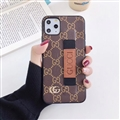 Metal Lattice Skin Gucci Leather Back Covers Holster Cases For iPhone 11 Pro Max - Brown