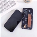 Metal Monogram Skin LV Leather Back Covers Holster Cases For iPhone 11 Pro Max - Black