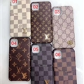 Metal Monogram Skin LV Leather Back Covers Holster Cases For iPhone 11 Pro Max - Brown 02