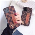 Metal Monogram Skin LV Leather Back Covers Holster Cases For iPhone 11 Pro Max - Brown 03