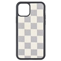 Classic Lattice Casing LV Leather Back Covers Holster Cases For iPhone 11 - White