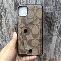 High Quality Shell Coach Holster Leather Back Covers Button Cases For iPhone 11 - Beige