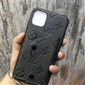 High Quality Shell LV Flower Leather Back Covers Button Cases For iPhone 11 - Grey