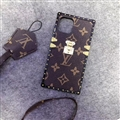 LV Monogram TPU Leather Rivet Lanyards Cases Shell For iPhone 11 Silicone Soft Covers - Brown 001