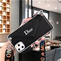 Long Strap Dior Envelope Crossbody Genuine Leather Case Book Back Holster Cover For iPhone 11 - Black