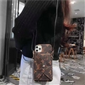 Long Strap LV Monogram Crossbody Genuine Leather Case Book Back Holster Cover For iPhone 11 - Brown 02