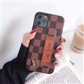 Metal Lattice Skin LV Leather Back Covers Holster Cases For iPhone 11 - Brown
