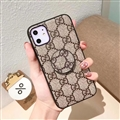 Round Lattice Skin Gucci Leather Back Covers Holster Cases For iPhone 11 - Brown