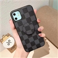 Round Lattice Skin LV Leather Back Covers Holster Cases For iPhone 11 - Black