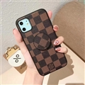 Round Lattice Skin LV Leather Back Covers Holster Cases For iPhone 11 - Brown