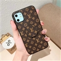 Round Monogram Skin LV Leather Back Covers Holster Cases For iPhone 11 - Brown 02