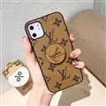 Round Monogram Skin LV Leather Back Covers Holster Cases For iPhone 11 - Yellow