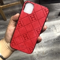 Unique Lattice Hermes Genuine Leather Back Covers Holster Cases For iPhone 11 - Red