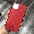 Unique Lattice LV Protective Leather Back Covers Holster Cases For iPhone 11 - Lattice Red