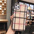 Unique Lattice Skin Burberry Leather Back Covers Holster Cases For iPhone 11 - Beige
