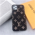 Unique Monogram Skin LV Leather Back Shell Holster Cases For iPhone 11 - Black