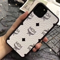 Unique Skin Casing MCM Leather Back Covers Holster Cases For iPhone 11 - White
