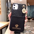 Versace Metal Strap Flip Leather Cases Ribbon Back Holster Cover For iPhone 11 - Black