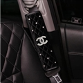 2pcs Chanel Car Safety Seat Belt Covers Lady Diamonds Pretty Plush Shoulder Pads - Black