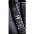 2pcs Chanel Car Safety Seat Belt Covers Women Diamonds Pretty Leather Shoulder Pads - Black