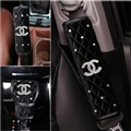 4pcs Chanel Car Safety Seat Belt Cover + Gear Cover + Handbrake Grips Women Diamonds Plush - Black