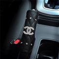 Chanel 1pcs Crystal Car Handbrake Covers Leather Diamond Brake Case Car Interior Decro - Black
