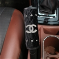Chanel 1pcs Crystal Car Handbrake Covers Plush Diamond Brake Case Car Interior Decro - Black