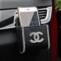 Chanel 1pcs Crystal Car Storage Bucket Leather Storage Box Diamond Auto Storage Bag - Black