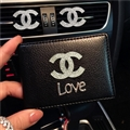 Chanel CC Diamond PU Leather Bags Womens Fashion Ladies Book Card Bags Wallets - Black Love 02