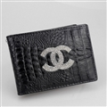 Chanel CC Diamond PU Leather Bags Womens Fashion Ladies Book Card Bags Wallets - Black
