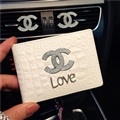 Chanel CC Diamond PU Leather Bags Womens Fashion Ladies Book Card Bags Wallets - White Love