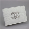 Chanel CC Diamond PU Leather Bags Womens Fashion Ladies Book Card Bags Wallets - White