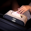 Chanel Crystal Leather Auto Tissue Paper Box Holder Case Seat Back Diamond Tissue Bag - Black