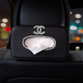 Chanel Crystal Leather Automotive Tissue Paper Box Holder Case Seat Back Hanging Tissue Bag - Black