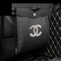 Chanel Leather Multi-function Car Seat Back Hanging Pocket Trash Thermal Insulation Storage Bag - Black