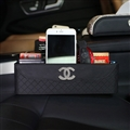 Cool Chanel Leather Car Seat Crevice Storage Box Multi-Purpose Gap Store Box - Black
