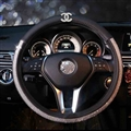 Funky Chanel Diamond PU Leather Auto Car Steering Wheel Covers 15 inch 38CM - Black