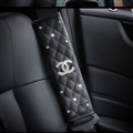 Glitter Diamond Chanel Protect Leather Automotive Seat Safety Belt Covers Car Decoration 2pcs - Black