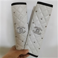 Glitter Diamond Chanel Protect Leather Automotive Seat Safety Belt Covers Car Decoration 2pcs - White