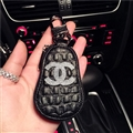 Gourd Chanel Automobile Genuine Leather Wallet Car Key Cover Case AirPods Bags - Black