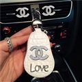 Gourd Chanel Automobile Genuine Leather Wallet Car Key Cover Case AirPods Bags - White Love