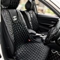 Lady Diamond Chanel Universal Auto Leather Car Seat Cover Cushion Black Sets - 5pcs