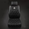 Lady Diamond Chanel Universal Front Leather Car Seat Cover Cushion Black Sets - 1pcs