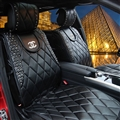 Lady Diamond Chanel Universal Front Leather Car Seat Cover Cushion Black Sets - 2pcs